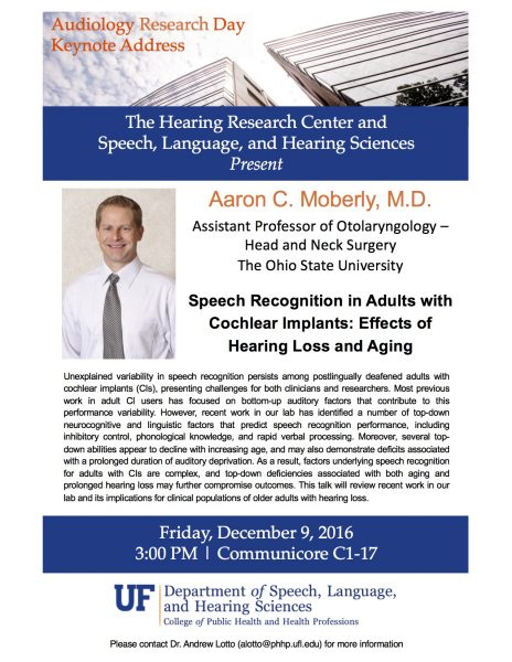 Audiology Research Day Keynote Address – 12/9/16